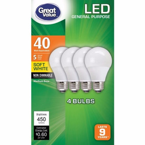 Foco Led 5 Watts Equiva 40 Watts Caja Con 4 Great Value