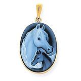Icecarats 14k Oro Amarillo Caballo Pony Perfil Ágata Cameo