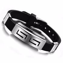 Pulseira Bracelete Masculina Aço / Silicone - Confira!