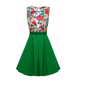 Vestido Bordado Floral Falda Verde Skater Tipo Retro