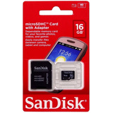 Cartão De Memória Micro Sd-hc Sandisk 16gb 2x1 ( Original )