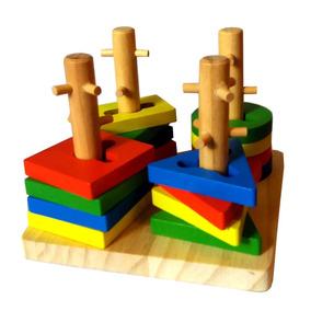Torre Encastre Madera Didáctico Dificultad Juego Montessori