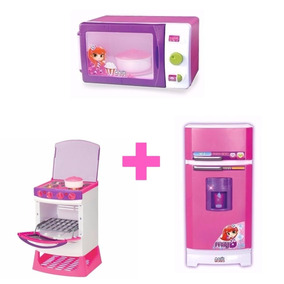 Kit Microondas+fogão Eletrônico+geladeira Mágica Super