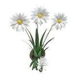 Arandela De Ferro Artesanal Rústica Varanda 3 Flores Branco