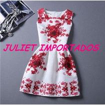 Vestido Infantil Menina Branco Vermelho Importado 8 - 9 Anos