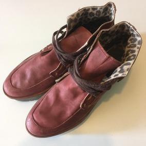 Zapatos Mujer Plataforma Cuero Bordo Interior A Print Nuevos