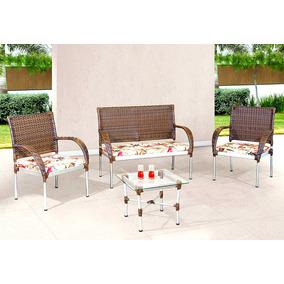 Kit 2 Cadeiras + Namoradeira + Mesa Para Varanda Em Aluminio