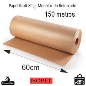 Kit 2 Bobinas Papel Pardo - Kraft 80gr, 60cm X 150mts Cada