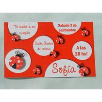Invitación Tarjeta Vaquita Primer Año Nacimiento Babyshower