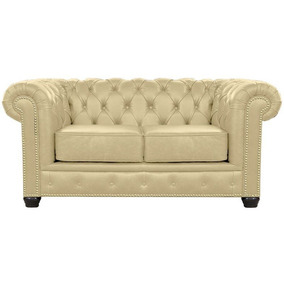 Sofá 2 Lugares 180cm Chesterfield Couro Bege - Mempra