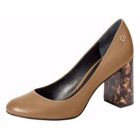 Zapato De Cuero Con Taco Animal Print De Diseño, Mujer