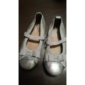 Zapatos Nena Balleto En Cuero Plateado. Talle 26/27.