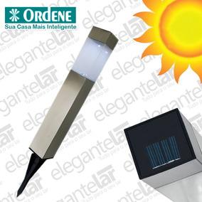 Luminária Solar Espeto Ordene Jardim Poste Luz Automática