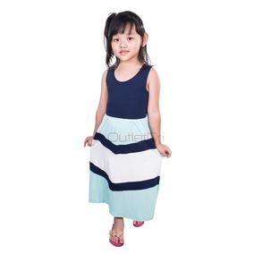 Vestido Infantil Três Cores Viscolycra Longo Alça Grossa