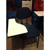 Cadeira Carteira Universitária Estofada Azul Semi Nova