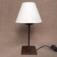 Lámpara Velador C/ Pantalla Tela Cono - Base Hierro Óxido