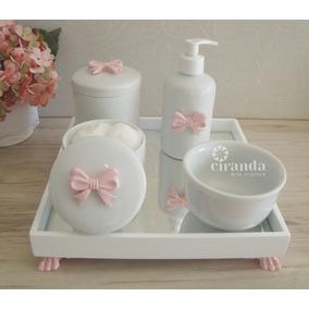 Kit Higiene Bebe Porcelana Saboneteira Bandeja Rosa + Barato