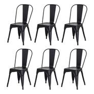 Kit 6 Cadeiras Tolix Iron Industrial Design Várias Cores