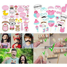 54 Piezas Bebé Ducha Fiesta Bebé Botella Máscaras Foto Booth