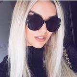 Óculos De Sol Feminino Preto Espelhado Vintage Moda Verão