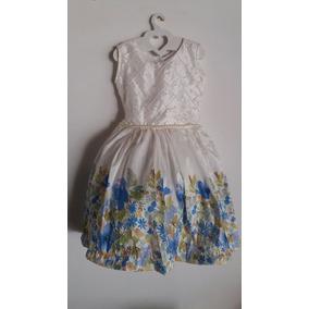 Vestido De Nena 2 Años Blanco Con Flores Azules