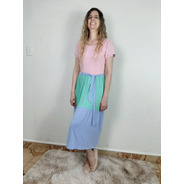 Vestido Midi Multicolor Tendência Moda Evangélica Feminina