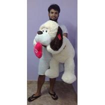 Perro De Peluche Acostado Con Corazon Gigante De 1.15 Metro