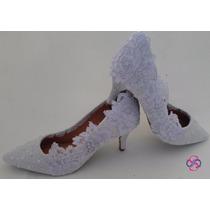 Sapato Branco Rendado Perolado Noivas G (casamento)