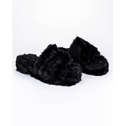 Pantuflas Mujer Sandalias Cuarentena Cómodas Peluche Negro