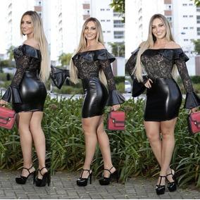 Vestido Couro Eco Com Renda Poliamida Boutique Festa Balada