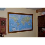 Cuadro Mapa Planisferio Físico Político Enmarcado