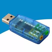 Placa De Som Usb 5.1 Canais Notebook Pc 3d Adaptador Audio