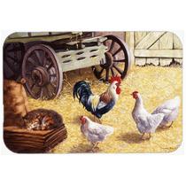 Gallo Y Gallinas Pollos En La Cocina Común O El Baño Mat 2