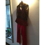 Pantalón De Seda Roja Y Corsé Animal Print Con Bufanda