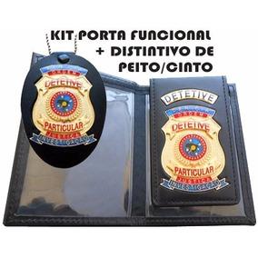 Kit Carteira Detetive Particular + Distintivo Cinto Mod Kf01