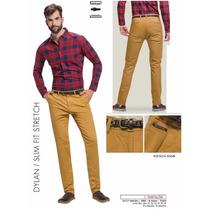 Pantalon Deep Slim Fit Strech Mostaza Con Cinturon