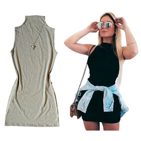 Vestido Feminino Tubinho Justo Gola Alta + Brinde