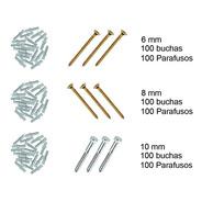 Kit Bucha Plastica + Parafuso - 6mm 8mm 10mm 100 Peças