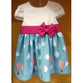 Vestido Balão Azul Roupa Infantil Lindo Festa Tam 01 Ao 06.