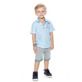 Conjunto Planet Kids C/ Short Higth Sea Azul/mescla 4925 V18
