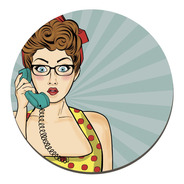 Placa Cuadro Decorativo Redondo 29cm Mujer Pop Art