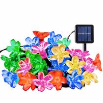 Flores Luces Solares Navidad 21 Ft 50 Led 6 Colores Escojer