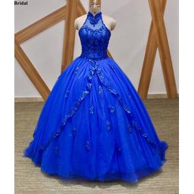 Vestidos de fiesta azul rey con dorado