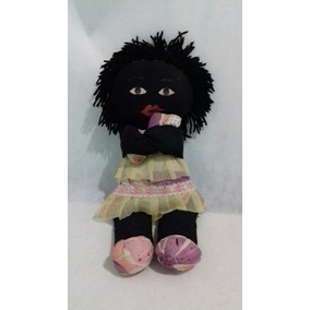 Boneca Pano Tecido Menina Pele Negra Pretinha Rasta Ciprizu
