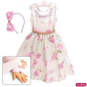 Vestido Floral Formatura Daminha Infantil Juvenil Luva Tiara