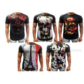 Camisa Estampa Lateral Floral Print - Camisetas Manga Curta para ... 8ebfd895dba
