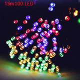 10 Pzs Decoracion De Navidad 15m 100 Led Luz Secuencia Solar