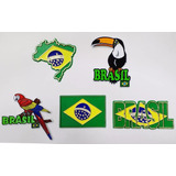 Kit 5 Imãs Geladeira Brasil Bandeiras Mapa Pássaros Souvenir