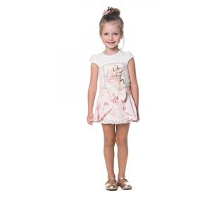 Conjunto Petit Cherie Blusa E Short Saia Rosa Estampado