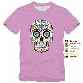 Camisa Personaliza Infantil Rosa Caveira Mexicana Colorida